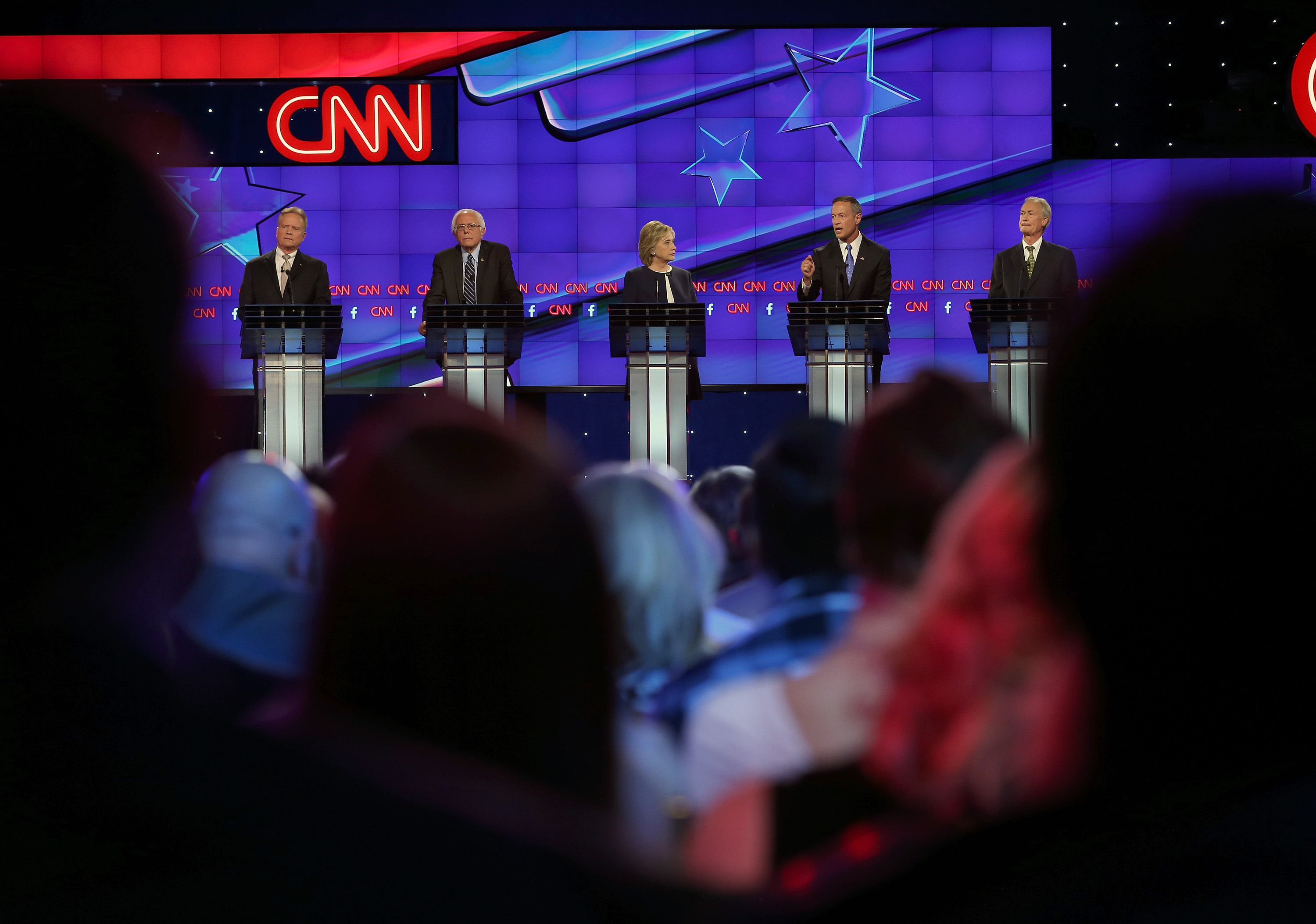 Democratic presidential candidates Jim Webb, Sen. Bernie Sanders (I-VT), Hillary Clinton, Martin O'Malley and Lincoln Chafee take part in presidential debate sponsored by CNN and Facebook at Wynn Las Vegas on October 13, 2015 in Las Vegas, Nevada. (Getty)