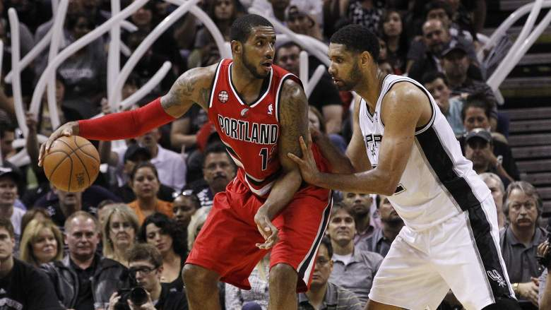 After years of playing against each other, LaMarcus Aldridge and Tim Duncan join forces in San Antonio. (Getty)
