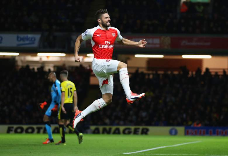 Olivier Giroud found the back of the net at the weekend. Getty)