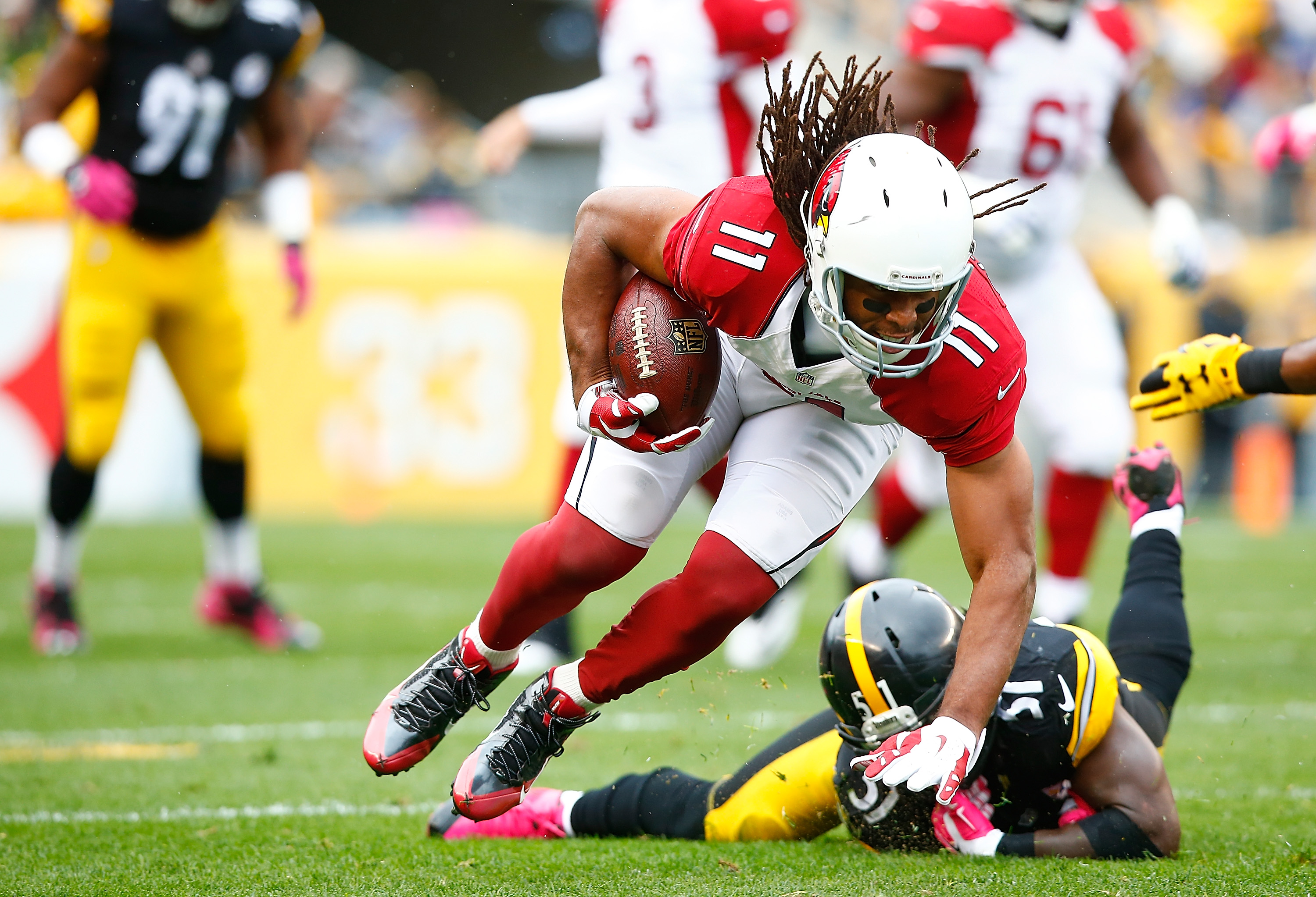 Larry Fitzgerald has four receptions at 69 yards at the break. (Getty)
