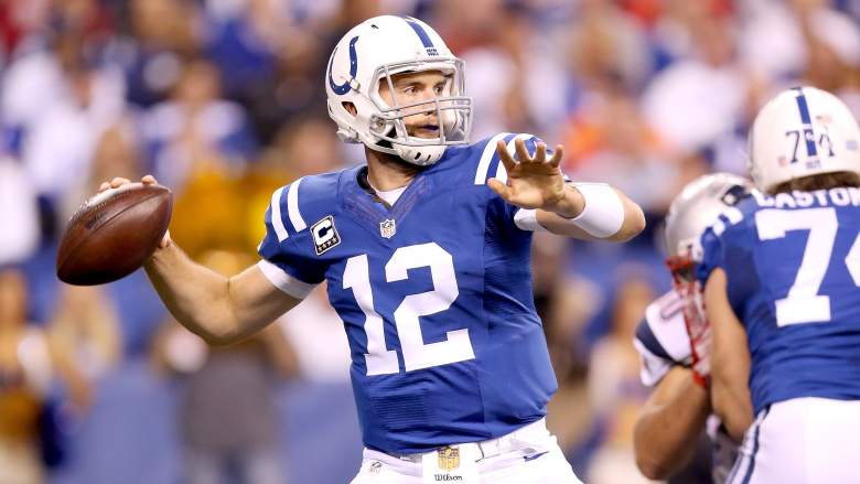INDIANAPOLIS, IN - OCTOBER 18:  Andrew Luck #12 of the Indianapolis Colts throws a pass during the game against the New England Patriots at Lucas Oil Stadium on October 18, 2015 in Indianapolis, Indiana.  (Photo by Andy Lyons/Getty Images)
