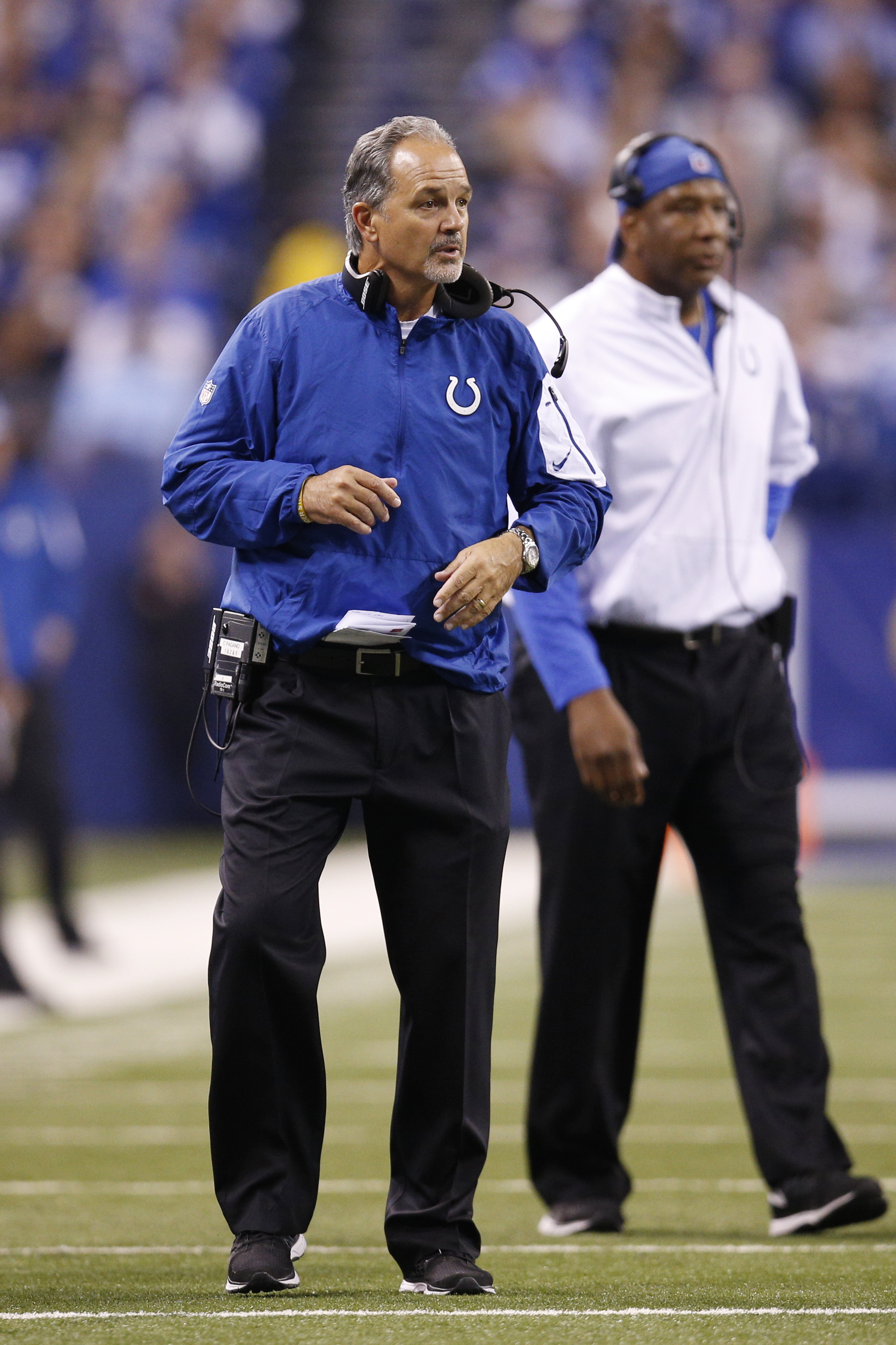 Chuck Pagano will have to answer questions about some odd playcalling. (Getty)