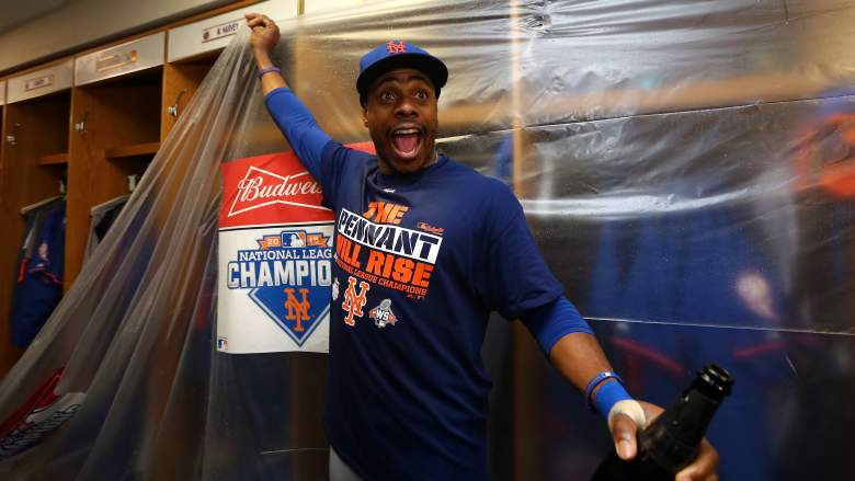 Mets outfielder Curtis Granderson celebrates after the team clinched a spot in the World Series. (Getty)