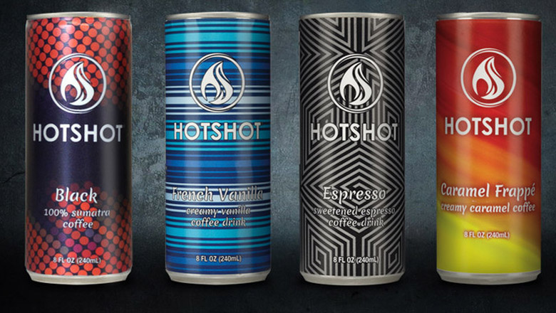 hot shot coffee, coffee to go, coffee cans