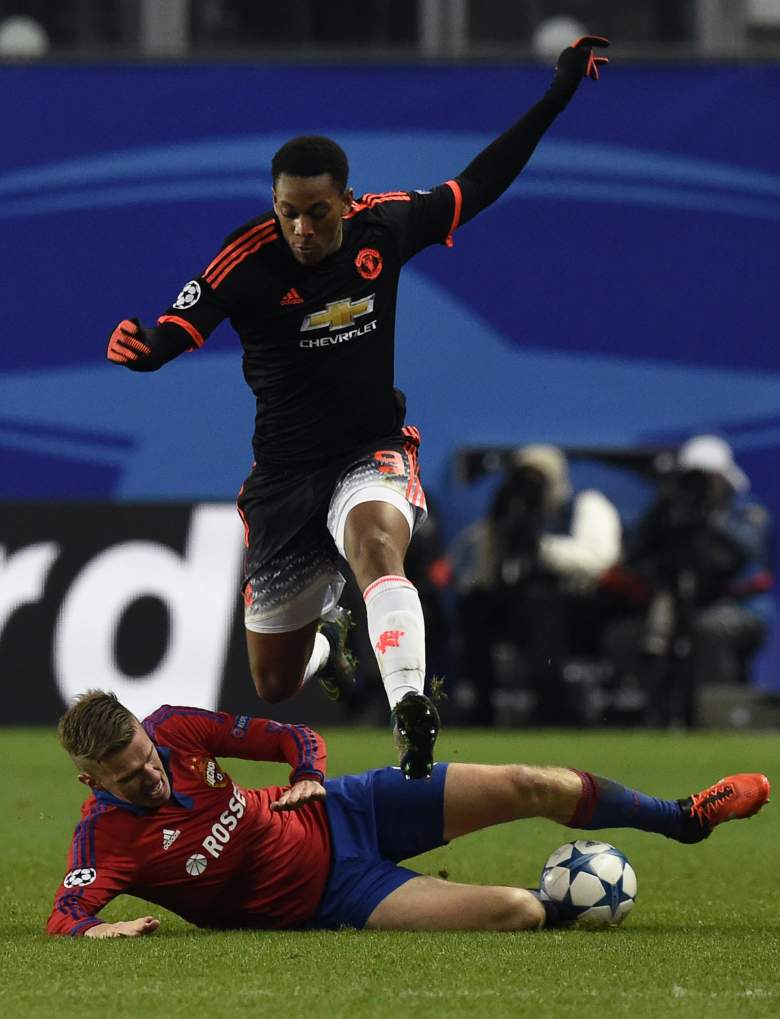 Anthony Martial scored in the Champions League and looks to improve on his scoring streak against derby rival Manchester City. (Getty)