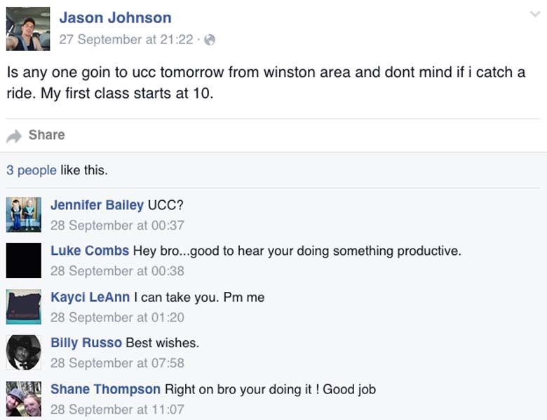Jason Johnson last Facebook post