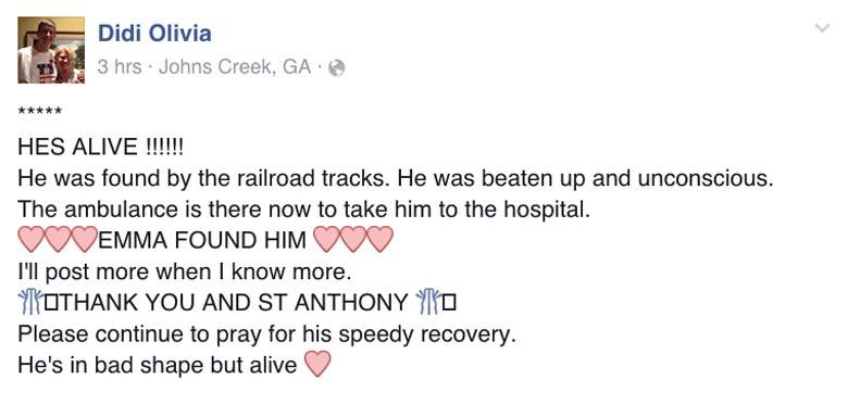Jimmy Hubert Mother Facebook post