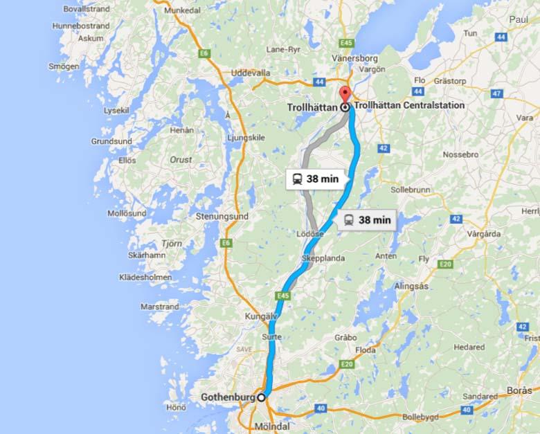 Where is Trollhattan Google Maps