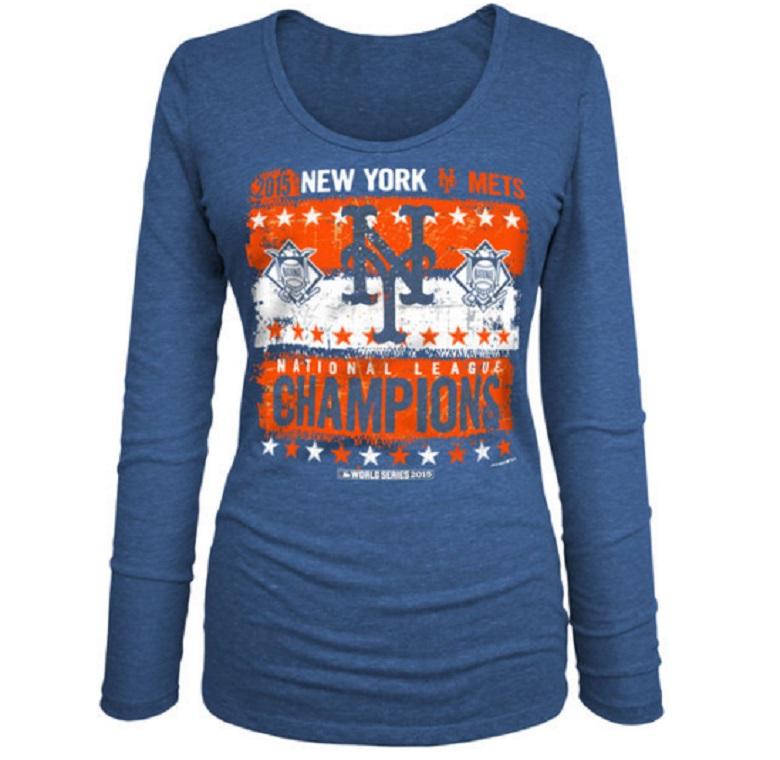 mets women's long sleeve national league championship t-shirt