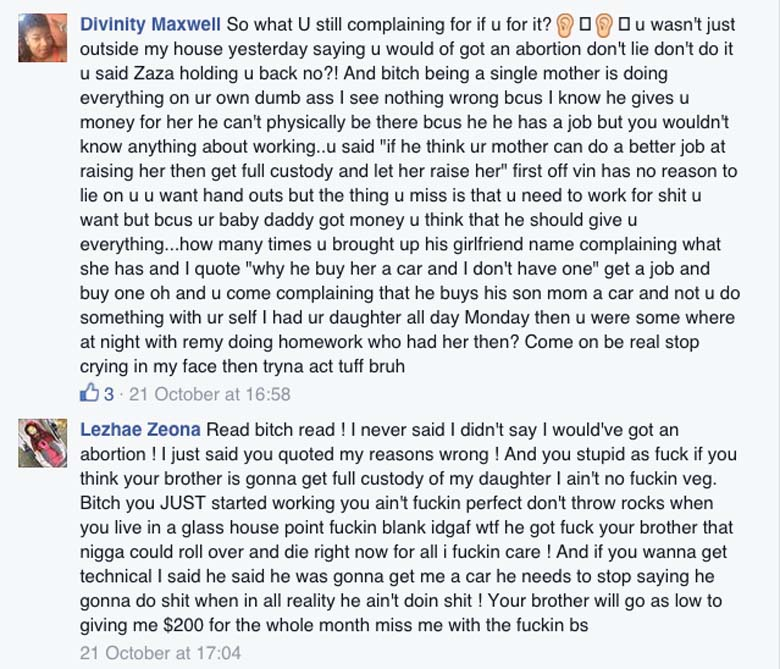 Lezhae Zeona Divinity Maxwell Facebook page fight Fetty Wap Sister