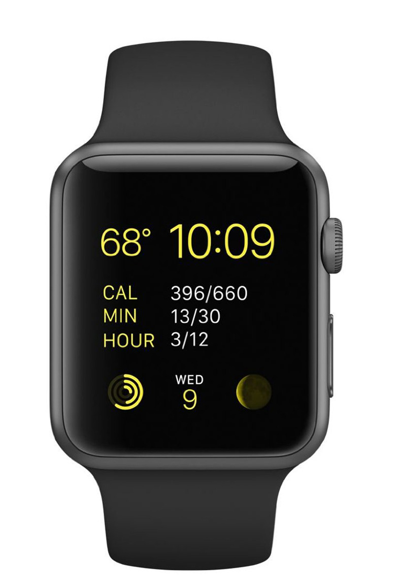 Apple Watch Sport 42mm Space Gray Aluminum Case with Black Sport Band, apple watch