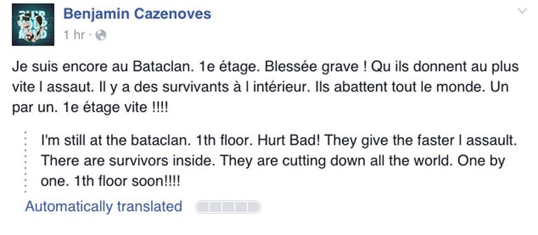 Benjamin Cazenoves facebook post