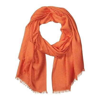 orange calvin klein logo pashmina scarf