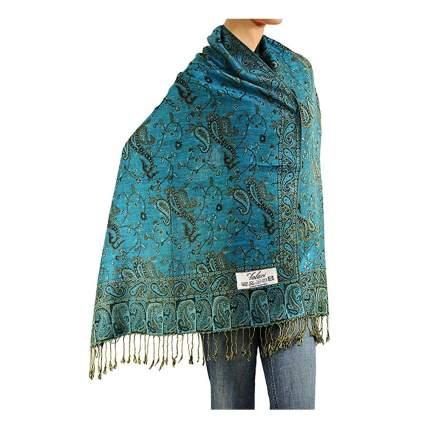 teal print pashmina shawl