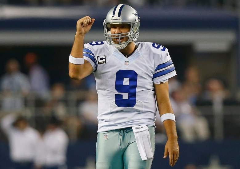 Tony Romo is back just in time to challenge the Panthers' undefeated record. (Getty)