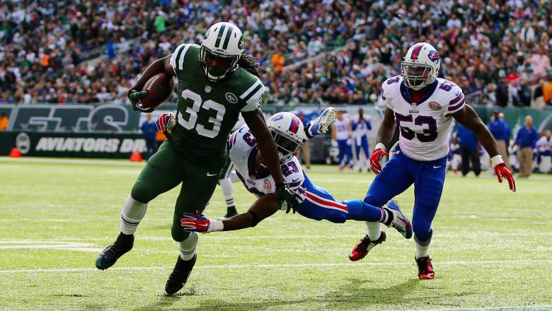The Jets and Bills will wear limited Color Rush jerseys when they play in Week 10. (Getty)