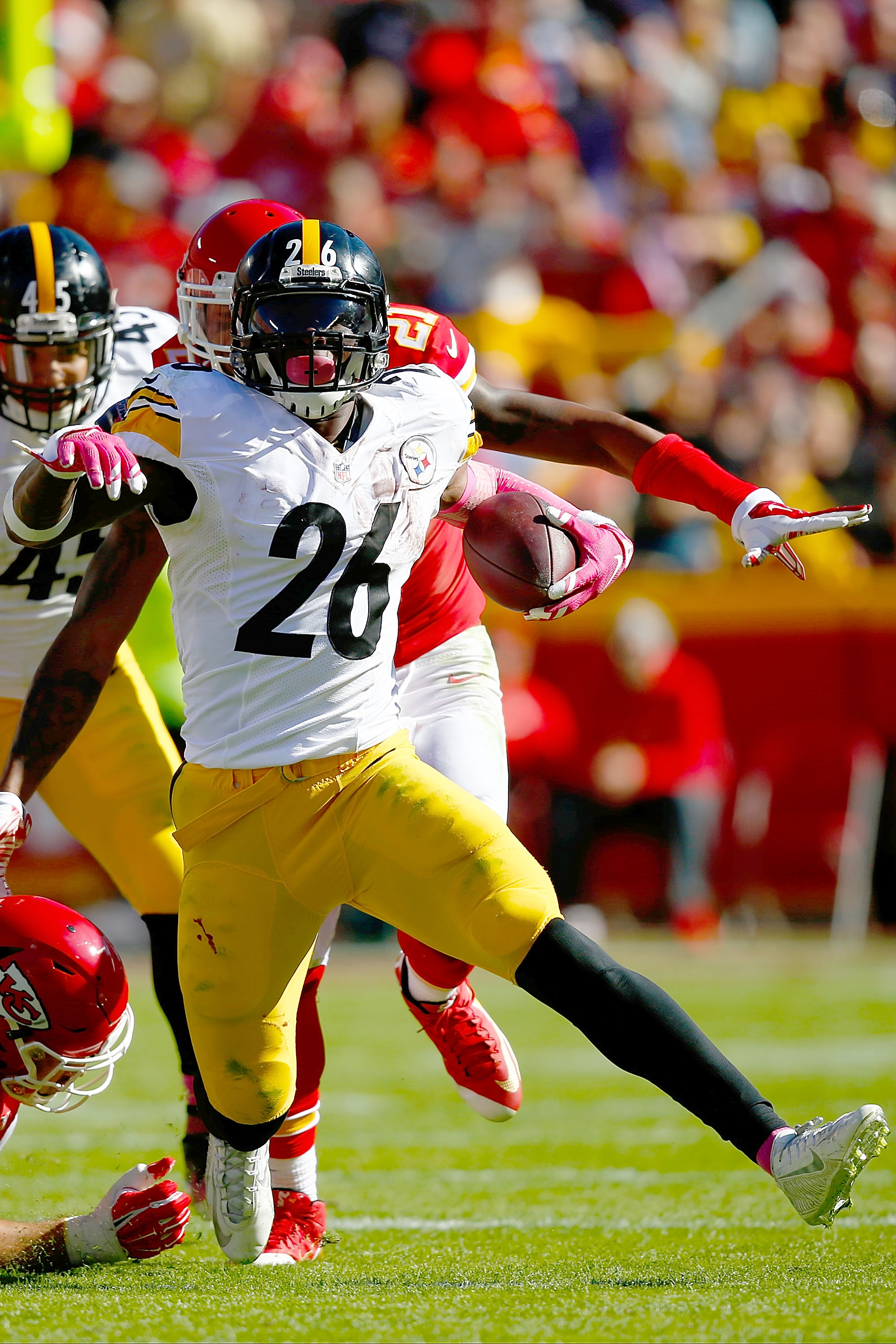 Le'Veon Bell stayed on the ground after a hit on the Pittsburgh sideline. (Getty)