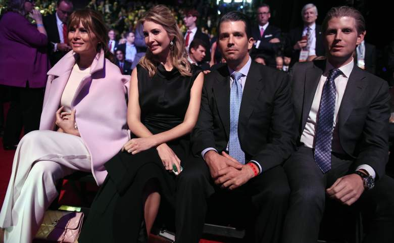 Donald Trumps wife Melania Trump (R), daughter Ivanka Trump (2L), and son's Eric Trump (2R), and Donald Trump Jr. wait for the start of the CNBC Republican Presidential Debate, October 28, 2015 at the Coors Event Center at the University of Colorado in Boulder, Colorado. AFP PHOTO / ROBYN BECK (Photo credit should read ROBYN BECK/AFP/Getty Images)