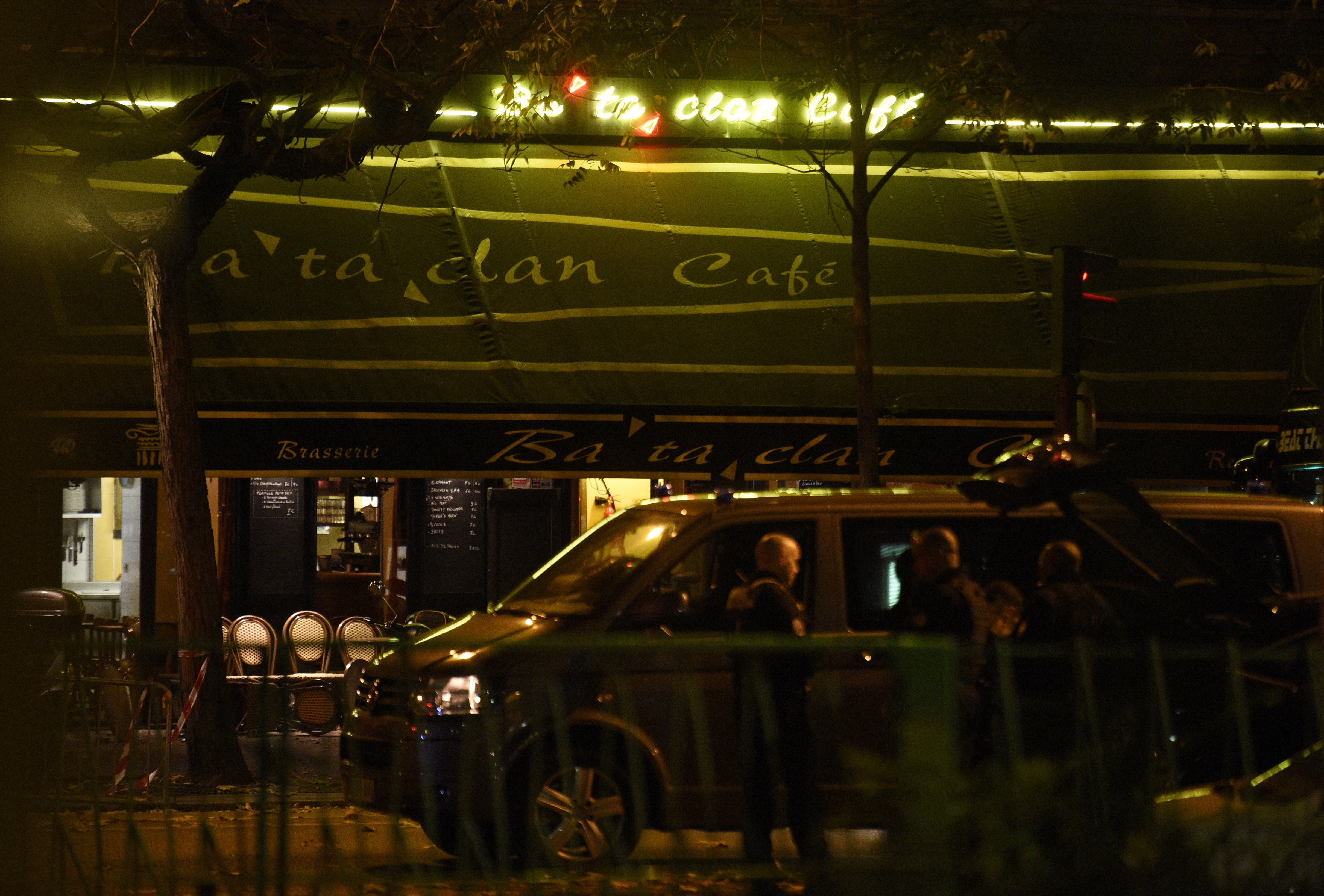 The Bataclan cafe near the Bataclan concert hall in central Paris after the attack Friday night. (Getty)