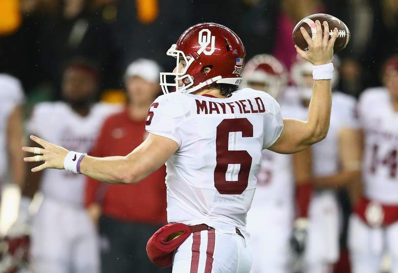 Baker Mayfield led the Sooners to a road victory against Baylor. (Getty)