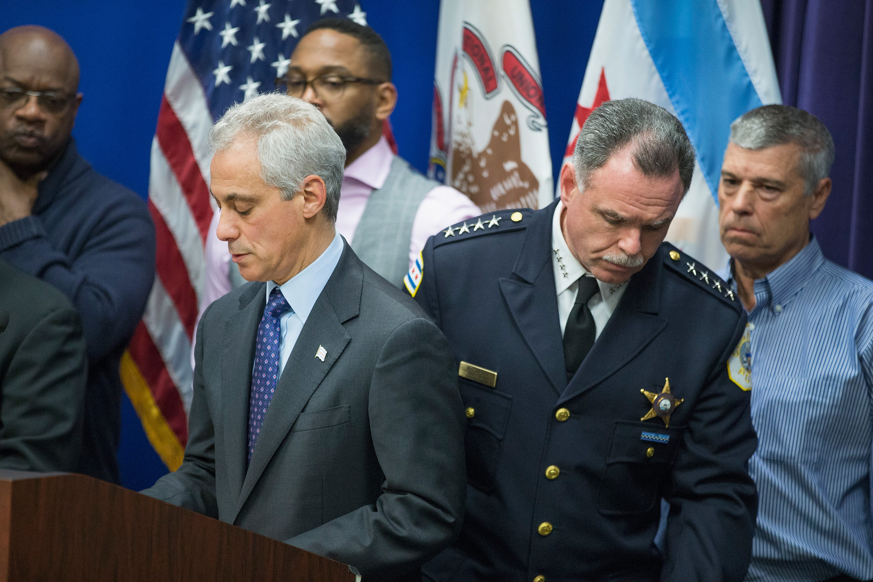 Mayor Rahm Emanuel, left, and Chicago Police Superintendent Garry McCarthy hold a  press conference to address the arrest of Chicago Police officer Jason Van Dyke on November 24, 2015. (Getty)