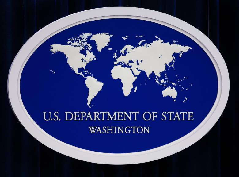 The US Department of State logo is displayed inside the media briefing room 01 November 2007 at the US Department of State in Washington, DC. AFP PHOTO/Paul J. Richards (Photo credit should read PAUL J. RICHARDS/AFP/Getty Images)