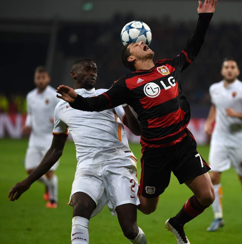 Leverkusen striker Javier Hernandez may have been frustrated on this intervention, but scored twice the last time Leverkusen faced Roma. Getty