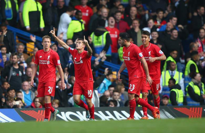 Philippe Coutinho scored twice for Liverpool on October 31, 2015 against Chelsea and looks to bring that scoring touch to the Europa League against Rubin Kazan on November 5, 2015. Getty