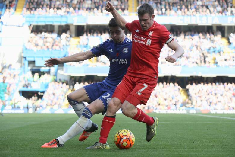 Standing captain James Milner, pictured here against Chelsea, has led Liverpool to a good stretch of play. Getty