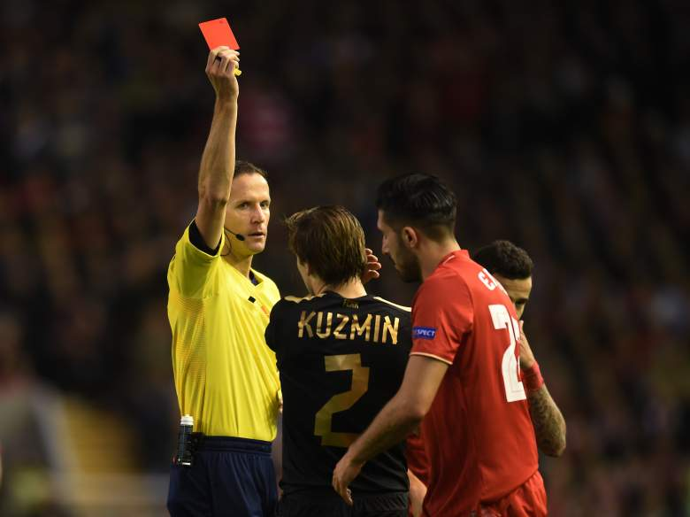 Oleg Kuzmin of Rubin Kazan saw red in his matchup with Liverpool in England, a 1-1 draw. (Getty)
