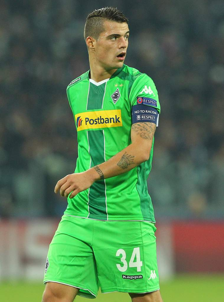Monchengladbach captain Granit Xhaka helped lead the Germans to a point in a matchup with Juventus on October 21, 2015 and looks to earn all three points in the matchup in Monchengladbach, Germany.  (Getty)