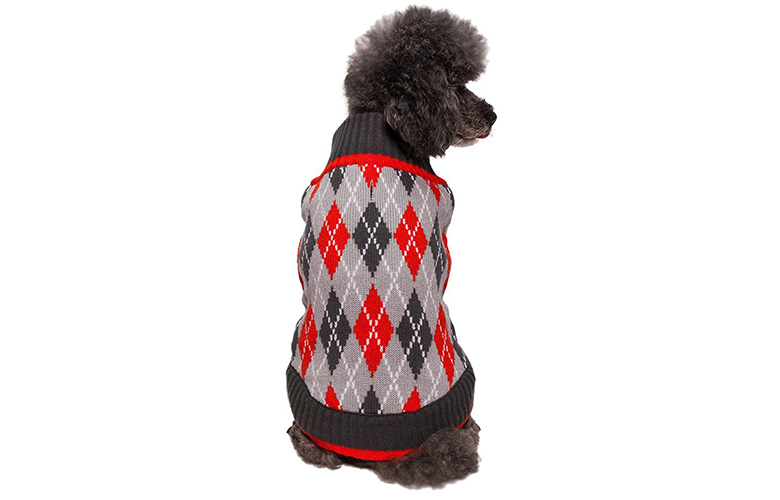 Blueberry Pet Holiday Season Chic Argyle All Over Dog Sweater