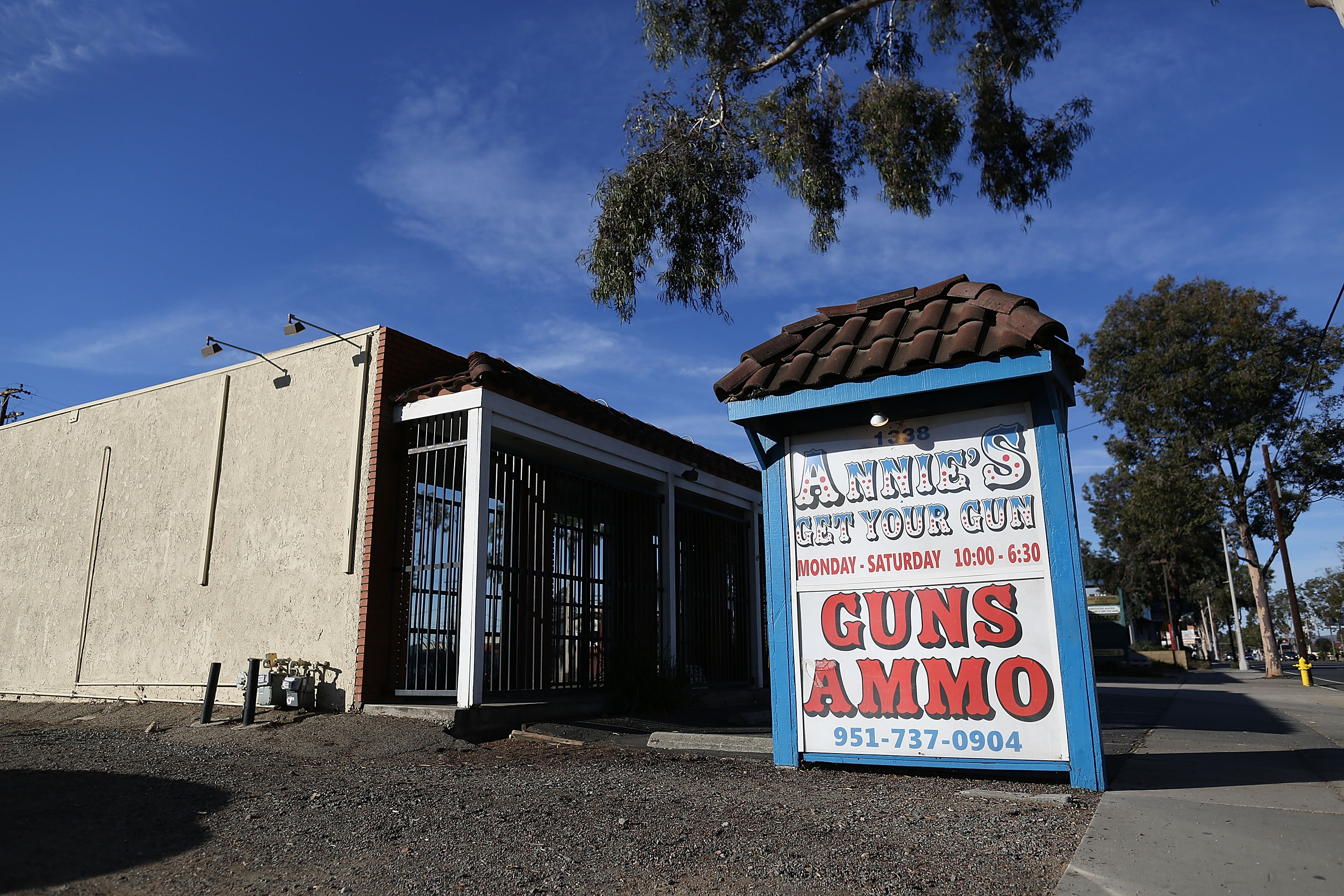 The exterior of Annie's Get Your Gun store is seen where Syed Rizwan Farook is reported to have bought a gun used in the attack at the Inland Regional Center in San Bernardino. (Getty)
