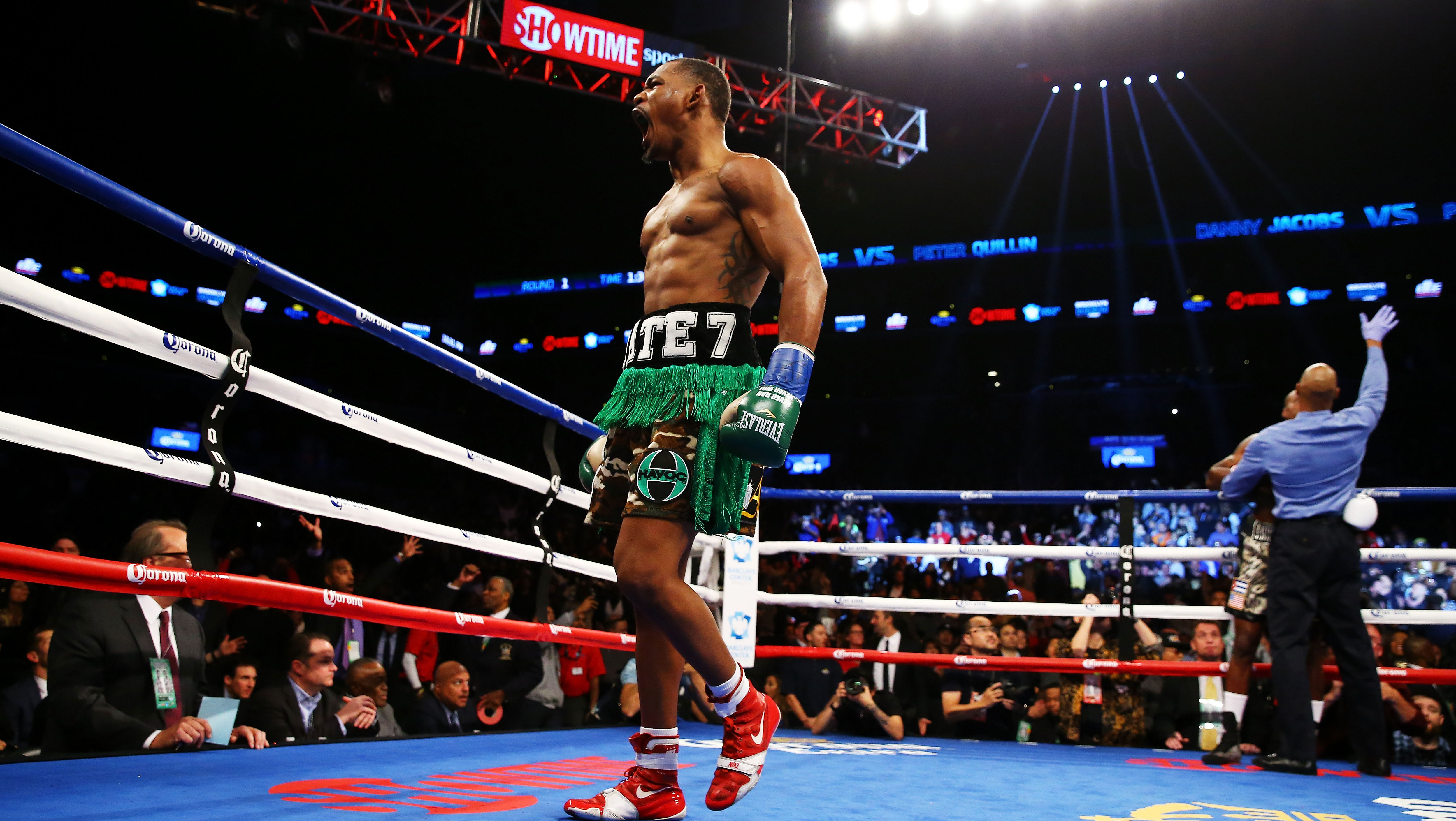 Daniel Jacobs successfully defends his WBA world middleweight title by stopping Peter Quillin.