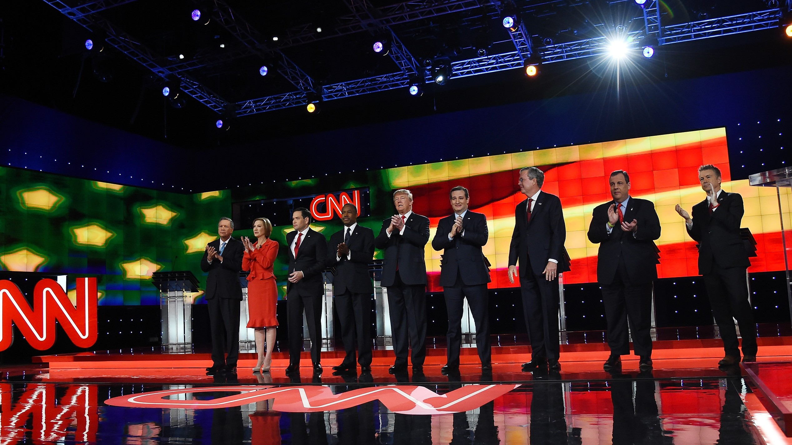 One of the Republican candidates has a cold, but no one can figure out who it is. (Getty)