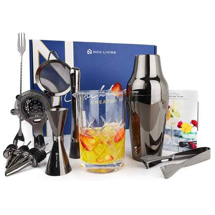 gun metal stainless steel barware set