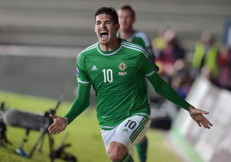 Kyle Lafferty of Northern Ireland will lead the side into the European Championships in France next summer. Getty