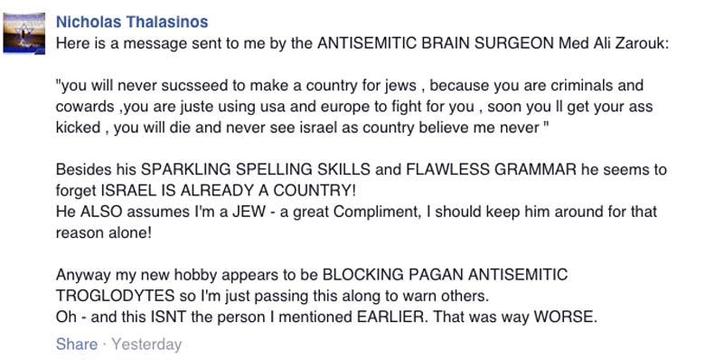 Nicholas Thalasinos Facebook post threat
