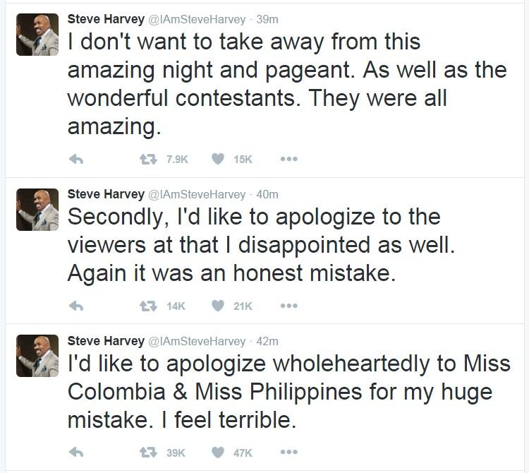 Steve Harvey, Steve Harvey Apologizes, Steve Harvey Miss Universe Apology, Steve Harvey Miss Universe Mistake