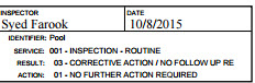 A screengrab from one of Farook's inspection reports. (San Bernardino County)