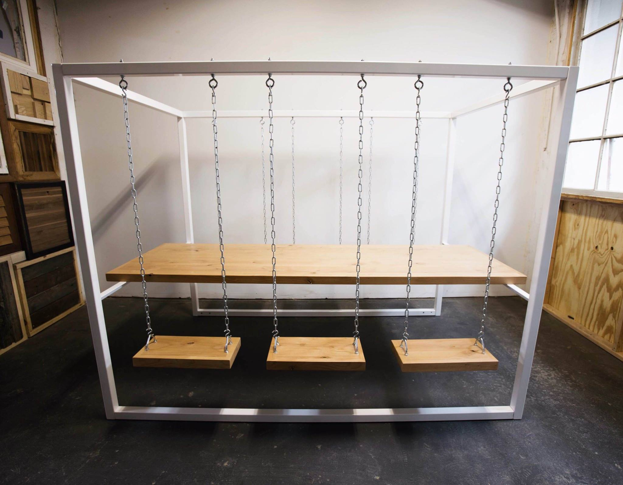 A swingset table designed by Hanisch. (Facebook)