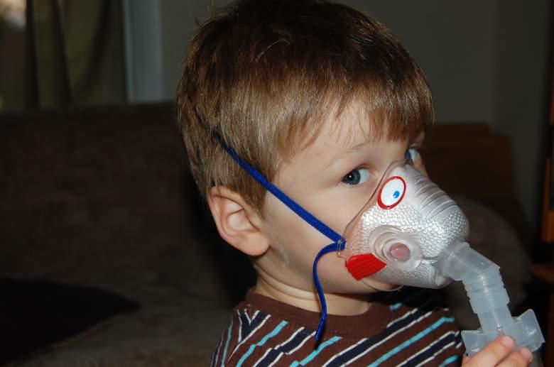 child with nebulizer