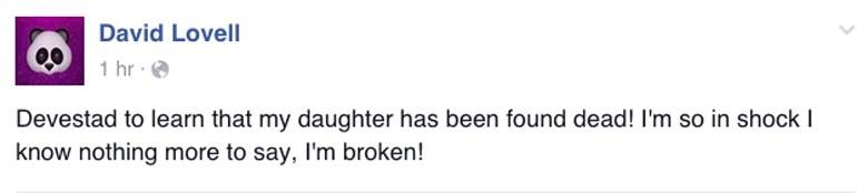 David Lovell Facebook post Nicole Lovell Dead