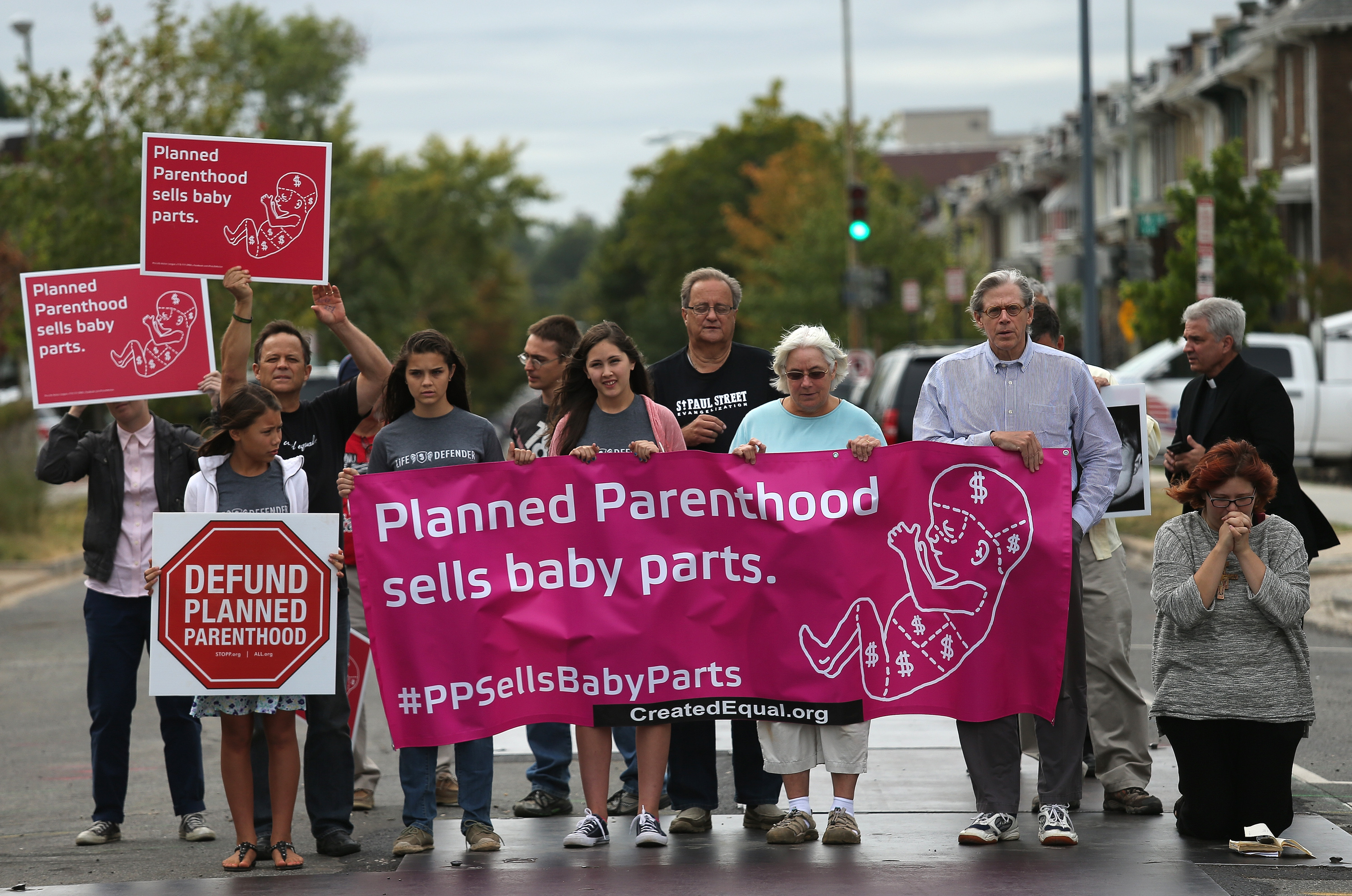 Right to Life advocates block 4th St. N.E. during a sit-in in front of a proposed Planned Parenthood location. (Getty)