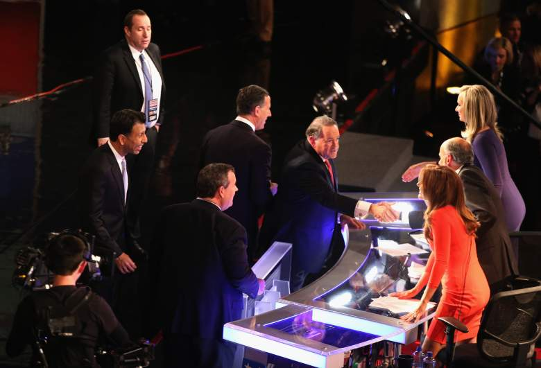 Trish Regan (bottom right) and Sandra Smith moderating the previous Fox Business debate with Gerald Sieb. Regan and Smith will return as a duo for Thursday's debate. (Getty)
