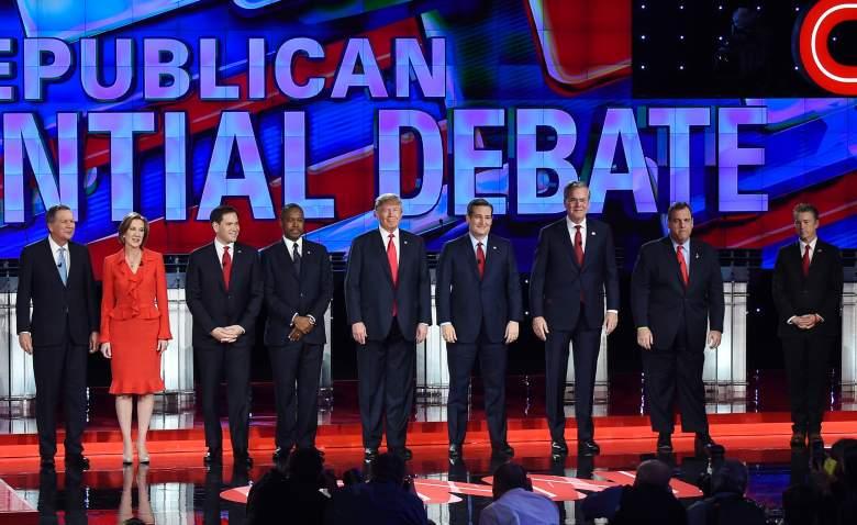 "The ""main"" GOP field at the Las Vegas debate. (Getty)"