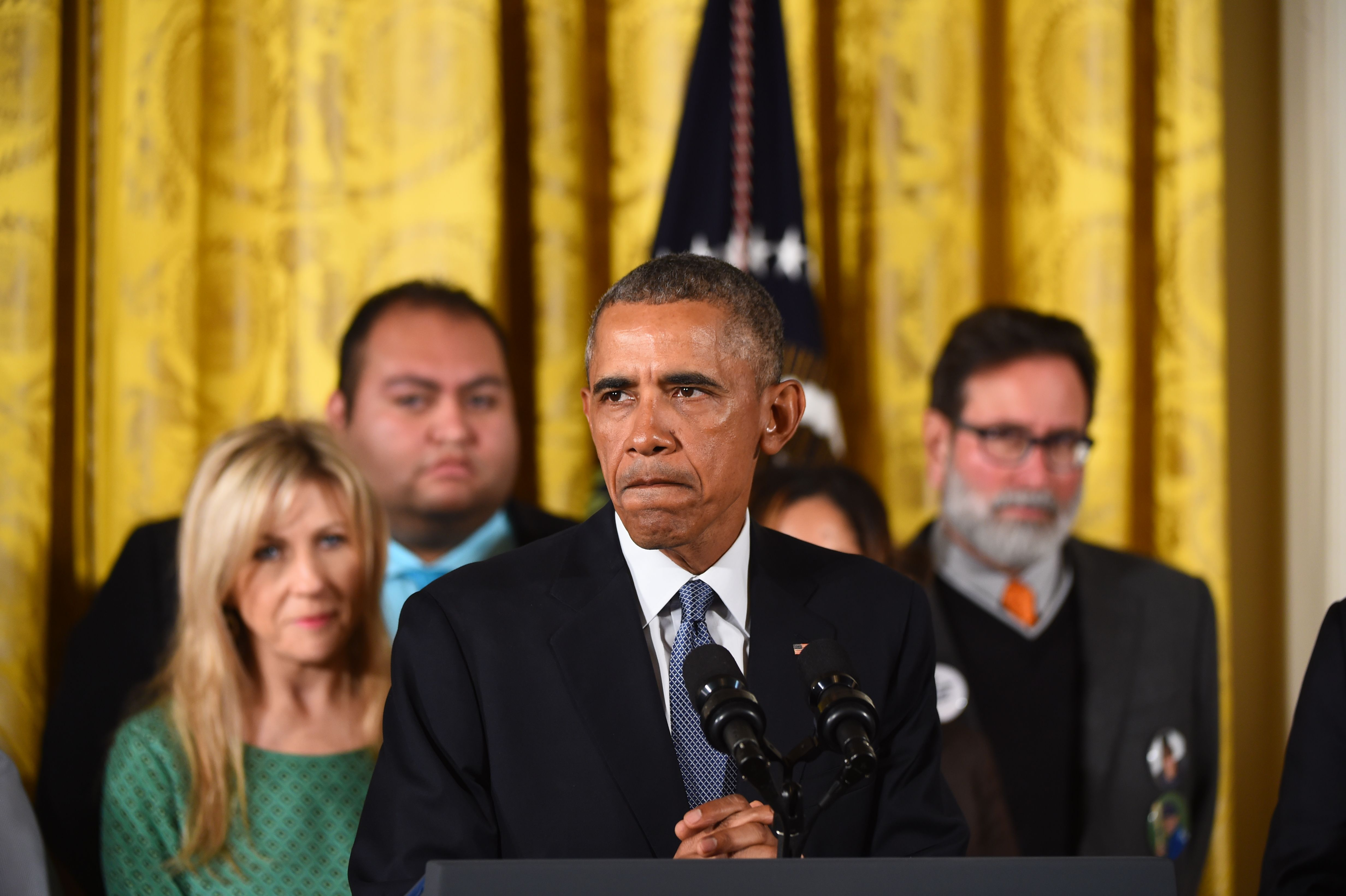 US President Barack Obama delivers a statement on executive actions to reduce gun violence on January 5, 2016 at the White House. (Getty)