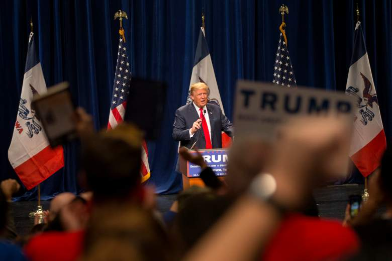 Donald Trump campaigns in Iowa, where he's closed significantly and possibly overtaken Ted Cruz. (Getty)