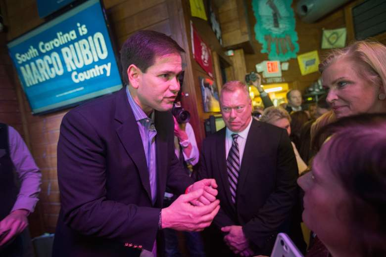 Marco Rubio, seen here in South Carolina, is running second to Trump in South Carolina. (Getty)