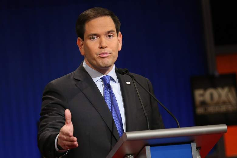 Marco Rubio, here at Thursday's GOP debate, takes the runner-up position in most New Hampshire polls. (Getty)